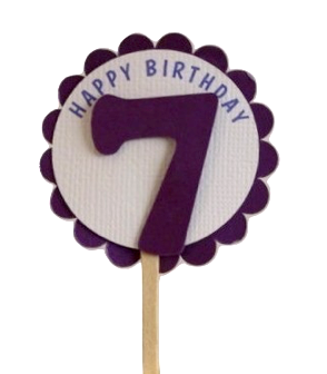 Shimmer Purple 7th Birthday Cupcake Toppers
