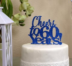 Blue Cheers to 60 Years! Cake Topper