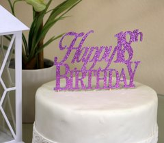Purple Happy 18th Birthday Cake Topper
