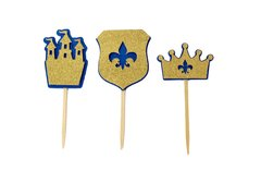 Royal Blue & Gold Glitter Prince Theme Cupcake Toppers