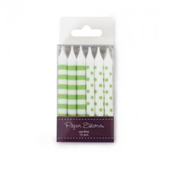 Dots & Stripes Birthday Candles Apple Green 12pc