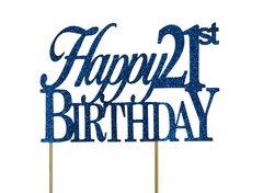 Blue Happy 21st Birthday Cake Topper