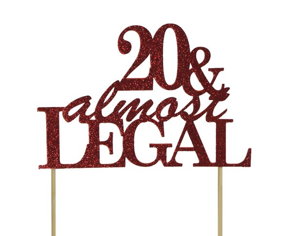 Red 20 & Almost Legal Cake Topper