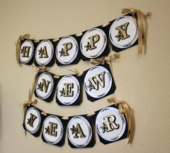 Black, Silver & Gold Star Theme Happy New Year Banner, 1 set