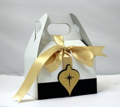 Black & Gold Christmas Ornament Favor Box, 10pcs