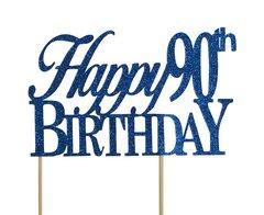 Blue Happy 90th Birthday Cake Topper