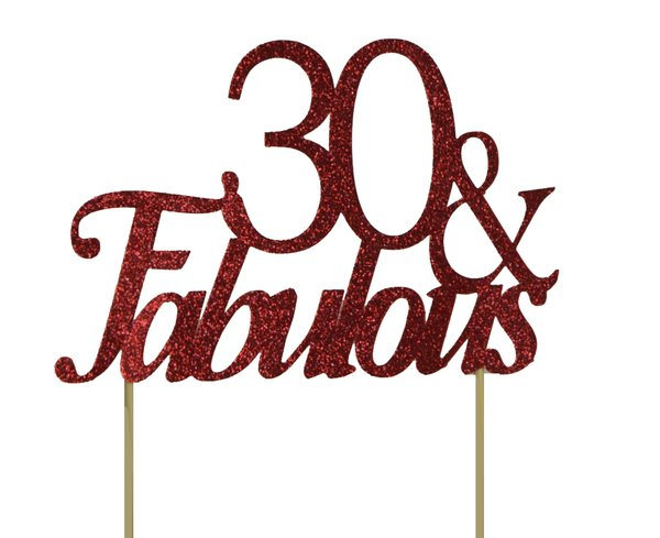 Red 30 & Fabulous Cake Topper