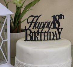 Black Happy 18th Birthday Cake Topper