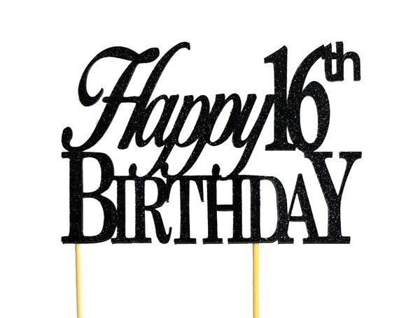Black Happy 16th Birthday Cake Topper