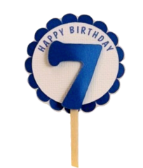 Shimmer Blue 7th Birthday Cupcake Toppers