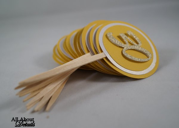 Gold 30 Cupcake Toppers