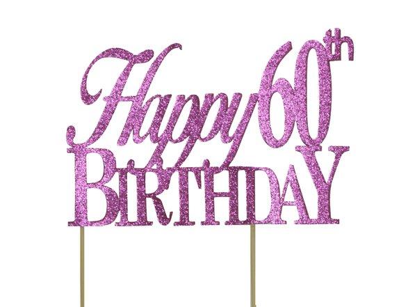 Pink Happy 60th Birthday Cake Topper
