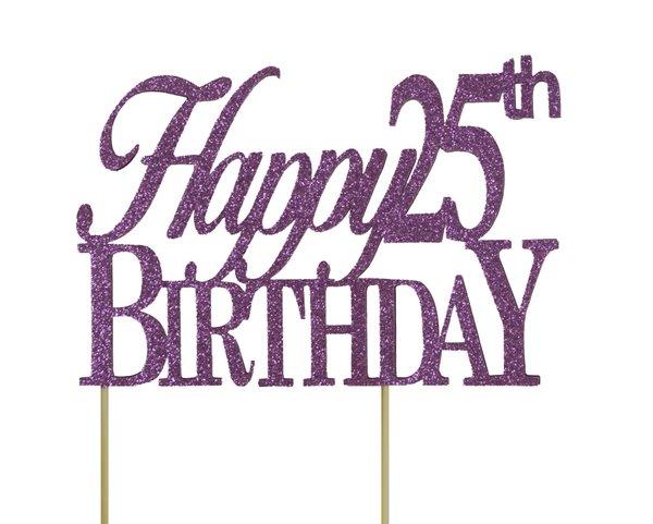 Purple Happy 25th Birthday Cake Topper