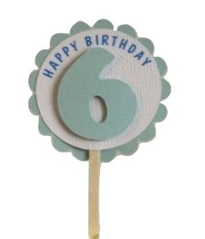 Shimmer Light Blue 6th Birthday Cupcake Toppers