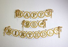 Gold Happy 90th Birthday Banner