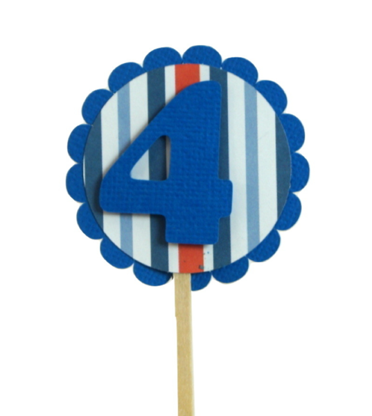 Blue & Stripes 4 Cupcake Toppers