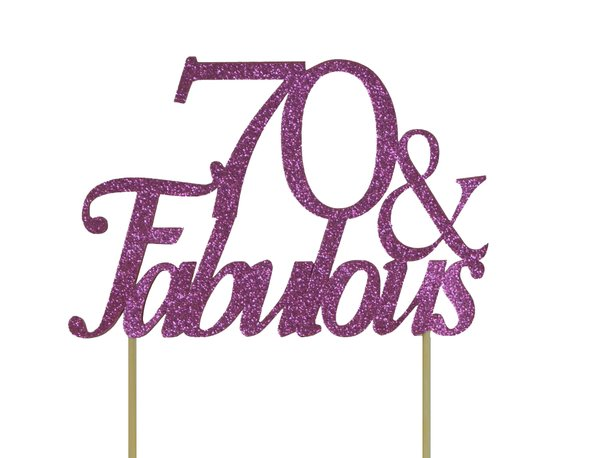 Pink 70 & Fabulous Cake Topper