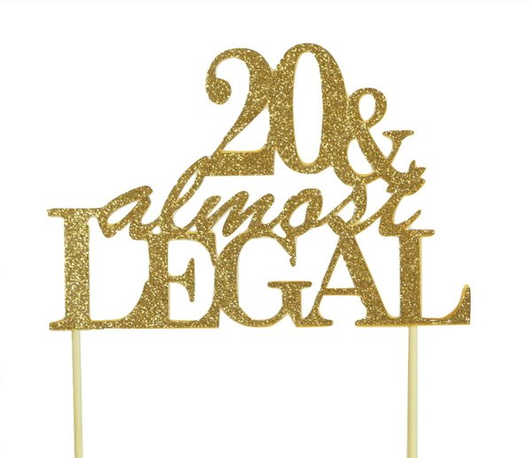 Gold 20 & Almost Legal Cake Topper