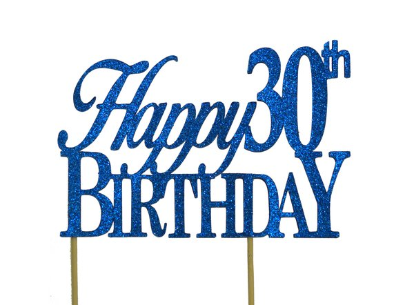 Blue Happy 30th Birthday Cake Topper