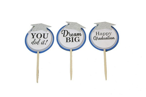 Blue & Silver Graduation Cupcake Toppers