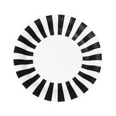 Stripes Paper Plates Black Tie 12pc