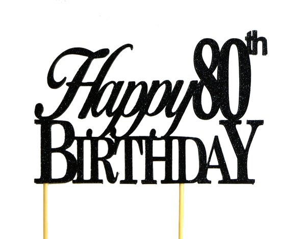 All About Details Black Happy 80th Birthday Cake Topper All