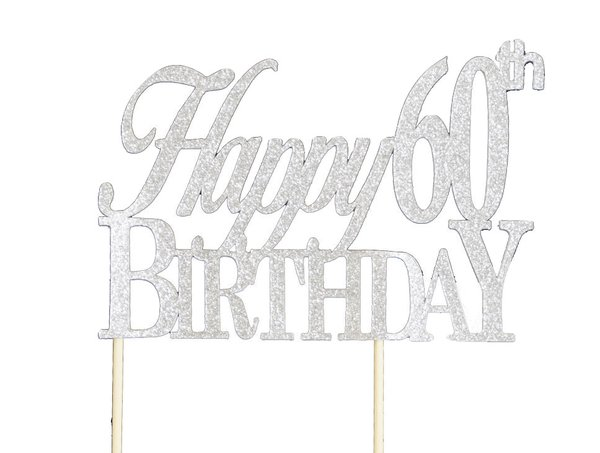 Silver Happy 60th Birthday Cake Topper