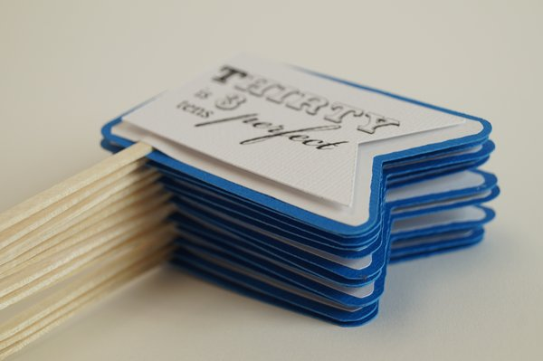 Blue Marine 30th Birthday Quotes Cupcake Toppers