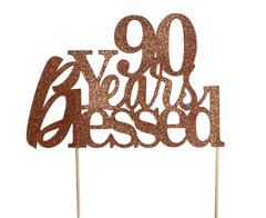 Copper 90 Years Blessed Cake Topper