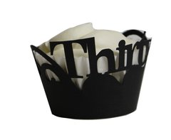 Black Thirty Cupcake Wrappers