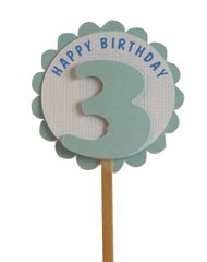 Shimmer Light Blue 3rd Birthday Cupcake Toppers