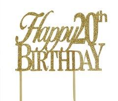 Gold Happy 20th Birthday Cake Topper