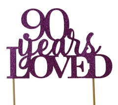 Purple 90 Years Loved Cake Topper