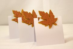 Copper Fall Leaf Place Cards / Food Escort Cards, Set of 12 pcs