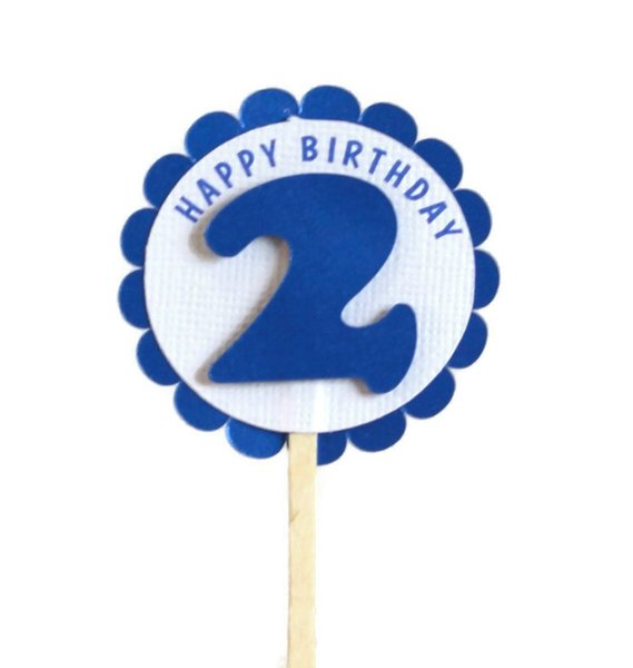 Shimmer Blue 2nd Birthday Cupcake Toppers