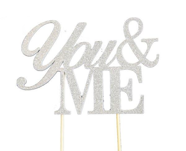 Silver You & Me Cake Topper