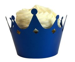 Shimmer Blue Crown Cupcake Wrappers, 12pcs