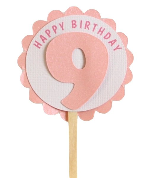 Shimmer Pink 9th Birthday Cupcake Toppers