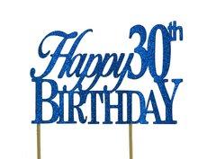 Blue Happy 30th Birthday Cake Topper