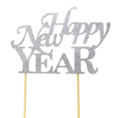 Silver Happy New Year Cake Topper, 1pc