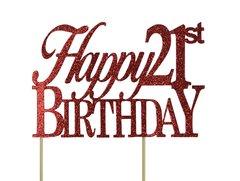Red Happy 21st Birthday Cake Topper