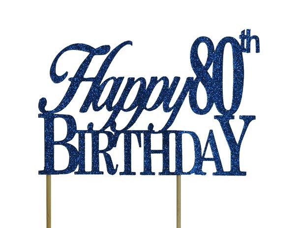 Blue Happy 80th Birthday Cake Topper