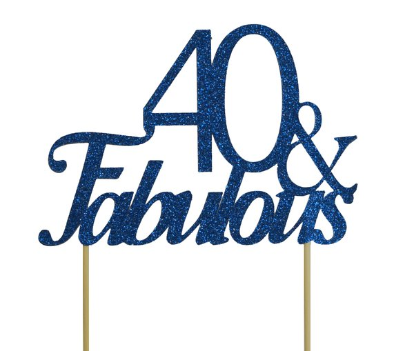 Blue 40 & Fabulous Cake Topper