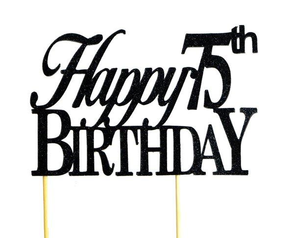 Black Happy 75th Birthday Cake Topper