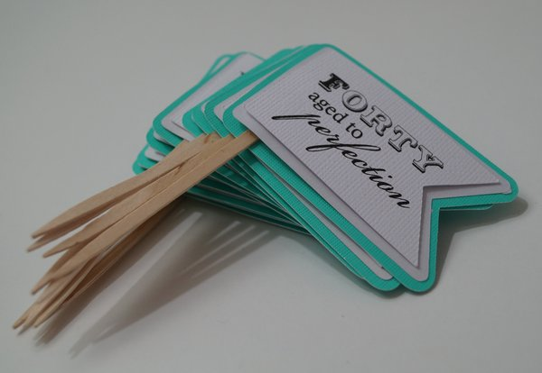 Patina Green 40th Birthday Quotes Cupcake Toppers