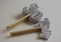 Silver Glitter Thirty Cupcake Toppers