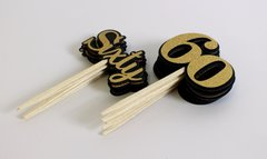 Black & Gold Sixty Cupcake Toppers