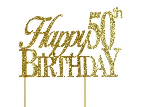 Gold Happy 50th Birthday Cake Topper