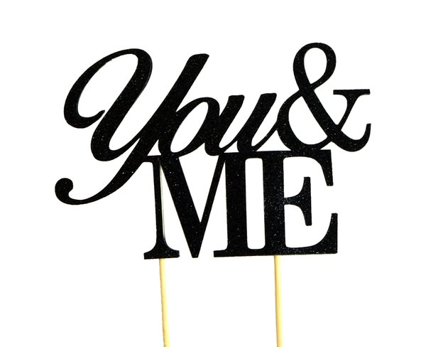 Black You & Me Cake Topper