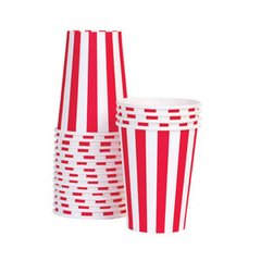 Stripes Paper Cups Candy Cane Red 12pc
